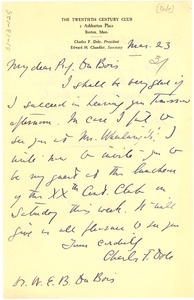 Thumbnail of Letter from Charles F. Dole to W. E. B. Du Bois
