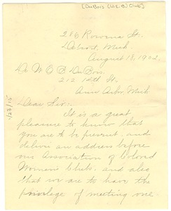 Thumbnail of Letter from W. E. B. Du Bois Club to W. E. B. Du Bois