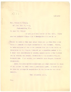 Thumbnail of Letter from W. E. B. Du Bois to Rev. Sutton E. Griggs