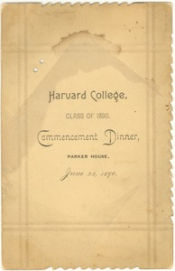 Thumbnail of Harvard College Class of 1890 commencement dinner program