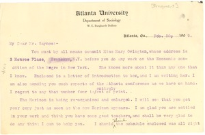 Thumbnail of Letter from W. E. B. Du Bois to George Edmund Haynes