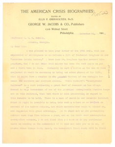 Thumbnail of Letter from George W. Jacobs & Co. to W. E. B. Du Bois