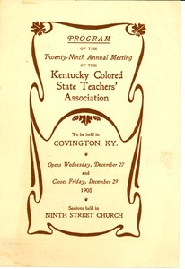 Thumbnail of Program of the Twenty-Ninth Annual Meeting of the Kentucky Colored State Teachers' Association