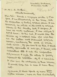 Thumbnail of Letter from Bertha Damaris Knobe to W. E. B. Du Bois