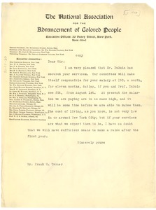 Thumbnail of Letter from National Association for the Advancement of Colored people to Unknown Correspondent