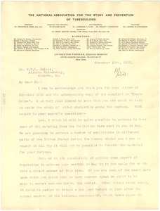 Thumbnail of Letter from The National Association for the Study and Prevention of Tuberculosis to W. E. B. Du Bois