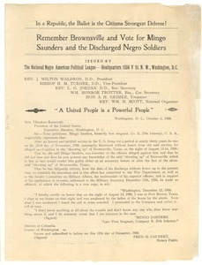 Thumbnail of Circular of Petition to Theodore Roosevelt from the National Negro American Political League