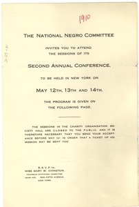 Thumbnail of Program of the National Negro Committee Conference
