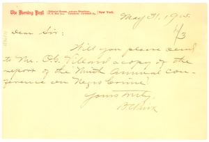 Thumbnail of Letter from New York Evening Post to W. E. B. Du Bois