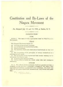 Thumbnail of Constitution and by-laws of the Niagara Movement as adopted July 12 and 13, 1905, at Buffalo, N.Y.