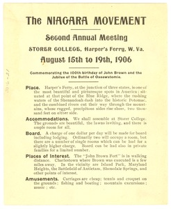 Thumbnail of Announcement of Niagara Movement Second Annual Meeting