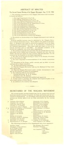 Thumbnail of Niagara Movement Abstract of Minutes for Second Annual Meeting