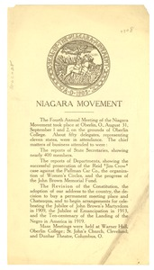 Thumbnail of Report of the 1908 annual meeting of the Niagara Movement