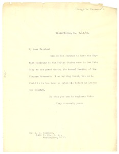 Thumbnail of Letter from W. E. B. Du Bois to L. M. Hershaw