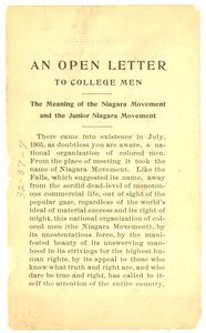Thumbnail of An  Open letter to college men: the meaning of the Niagara Movement and the junior Niagara Movement