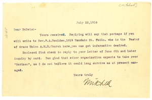 Thumbnail of Letter from George Mitchell to W. E. B. Du Bois