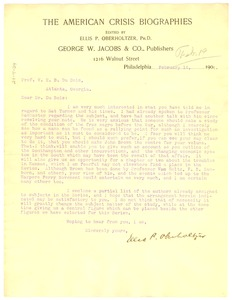Thumbnail of Letter from Ellis P. Oberholtzer  to W. E. B. Du Bois