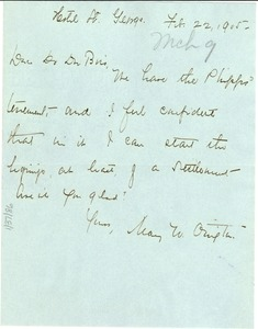 Thumbnail of Letter from Mary White Ovington to W. E. B. Du Bois
