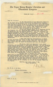 Thumbnail of Letter from The Negro Young Peoples' Christian and Educational Congress to W. E. B. Du Bois