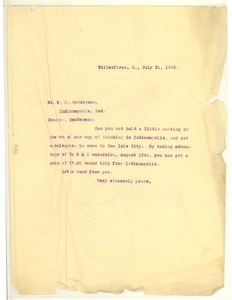 Thumbnail of Letter from W. E. B. Du Bois to W. B. Henderson