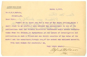 Thumbnail of Letter from Alfred Holt Stone to W. E. B. Du Bois