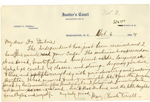 Thumbnail of Letter from Mary Church Terrell to W. E. B. Du Bois