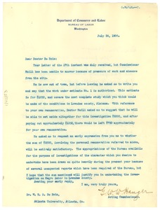 Thumbnail of Letter from United States Bureau of Labor to W. E. B. Du Bois