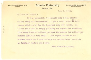 Thumbnail of Letter from W. E. B. Du Bois to Alfred Holt Stone