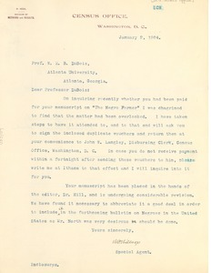Thumbnail of Letter from the United States Census Office to W. E. B. Du Bois