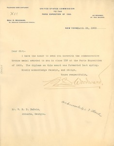 Thumbnail of Letter from the United States Commission to the Paris Exposition of 1900 to W. E. B. Du Bois