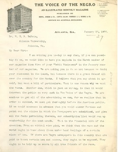 Thumbnail of Letter from the Voice of the Negro to W. E. B. Du Bois