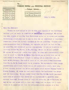 Thumbnail of Letter from Booker T. Washington to W. E. B. Du Bois