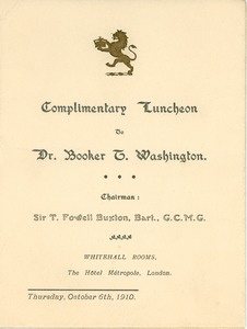 Thumbnail of Complimentary Luncheon to Dr. Booker T. Washington