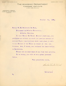 Thumbnail of Letter from Charles Winter Wood to W. E. B. Du Bois