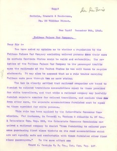 Thumbnail of Letter from Paul D. Cravath to Booker T. Washington