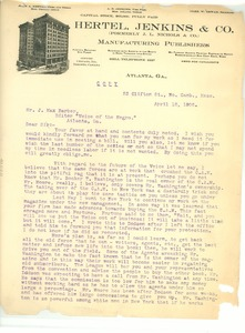 Thumbnail of Letter from Pauline E. Hopkins to J. Max Barber