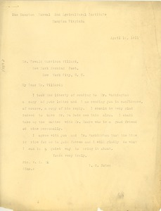 Thumbnail of Letter from R. R. Moton to Oswald Garrison Villard