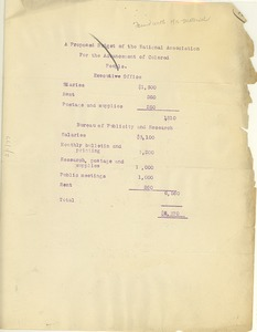 Thumbnail of A  Proposed budget of the National Association for the Advancement of Colored People