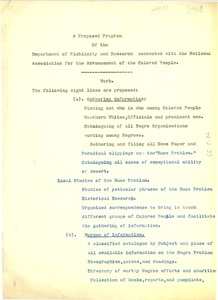 Thumbnail of A proposed program of the Department of Publicity and Research connected with the National Association for the Advancement of the Colored People