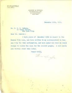 Thumbnail of Letter from Wherry and Morgan to W. E. B. Du Bois