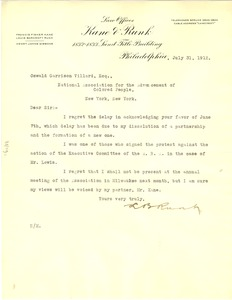 Thumbnail of Letter from the law offices of Kane and Runk to the National Association for the Advancement of Colored People