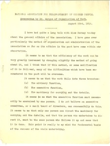 Thumbnail of National Association for the Advancement of Colored People memorandum by Mr. Morgan       of organization of work