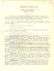 Thumbnail of National Association for the Advancement of Colored People minutes of the meeting of the Board of Directors March 11, 1913