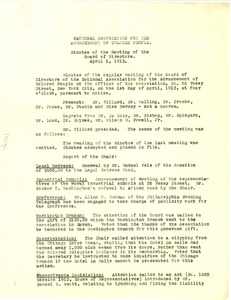 Thumbnail of National Association for the Advancement of Colored People Minutes of the Meeting of the Board of Directors April 1, 1913