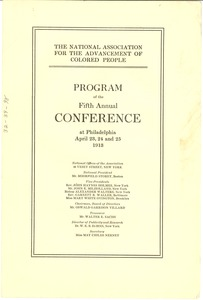 Thumbnail of National Association for the Advancement of Colored People Programme of the Fifth Annual Conference