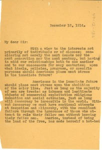Thumbnail of Letter from W. E. B. Du Bois to Albion W. Small