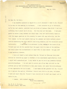Letter from Jacques Loeb to W. E. B. Du Bois