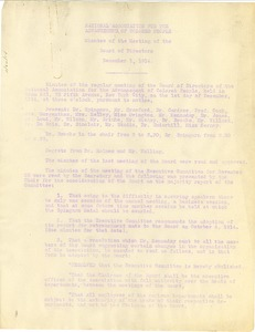 Thumbnail of National Association for the Advancement of Colored People Minutes of the meeting of the Board of Directors December 1, 1914