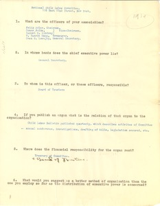 Thumbnail of National Child Labor Committee questionnaire