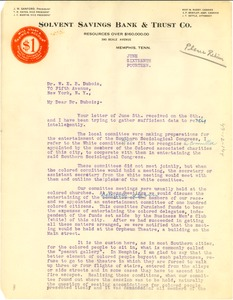 Thumbnail of Letter from B. M. Roddy to W. E. B. Du Bois